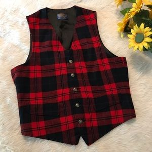 Pendleton red and black Plaid Vest